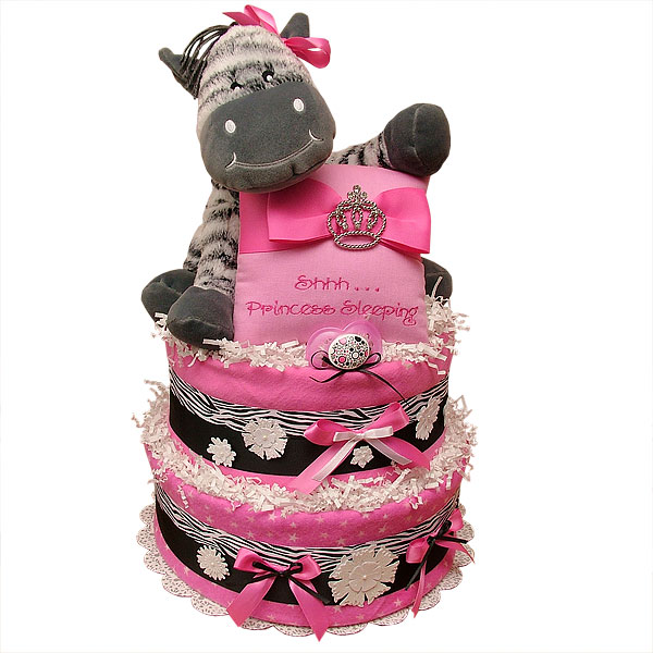 Pink And White Zebra Cake. Diaper Cake Ideas