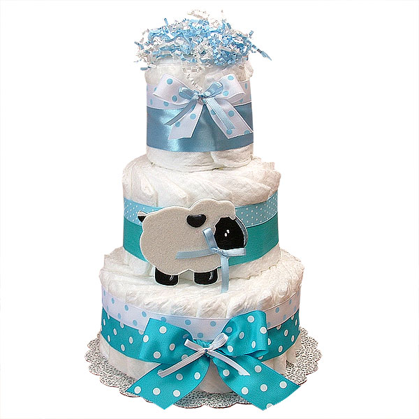 Diaper Cake Decorations Blue Sheep LRG jpg